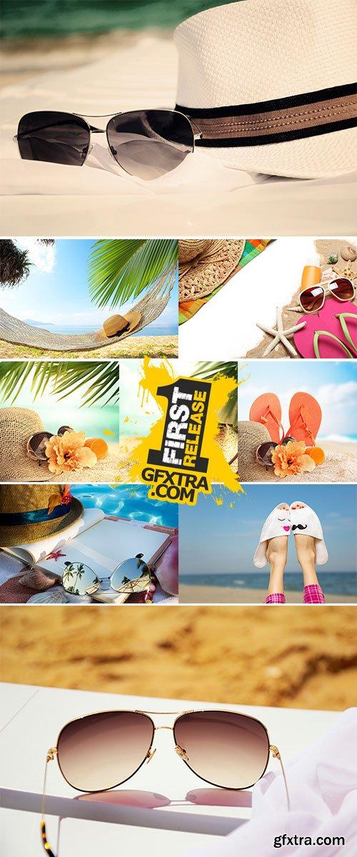Stock Photo Beach accessories on beach chair