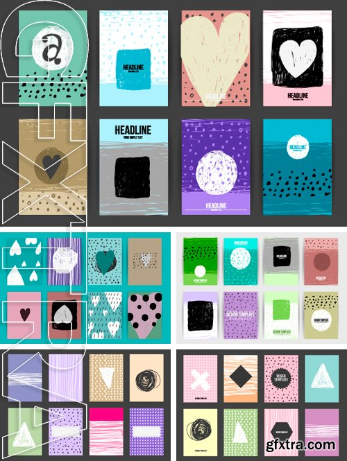 Stock Vectors - Set of Trendy Posters with hand drawn Background