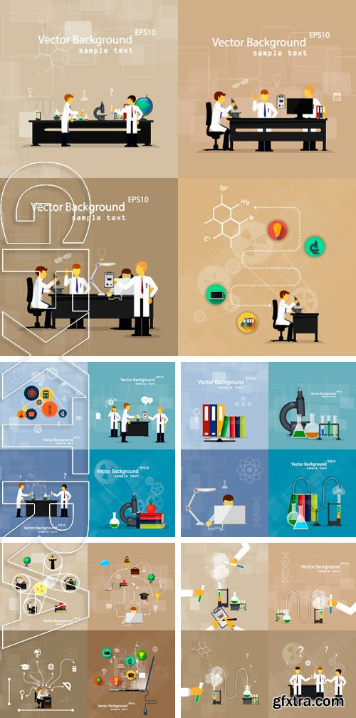 Stock Vectors - Vector illustrations of scientists in laboratories conducting research