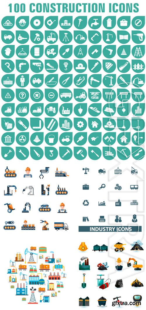 Stock Vectors - Industry, factory icons, signs, illustrations design concept set for appliciation, website, vector on white background