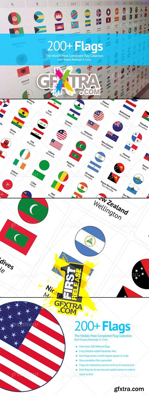 200+ Flags From Around The World - Flat Vector Circle Rectangle Icons