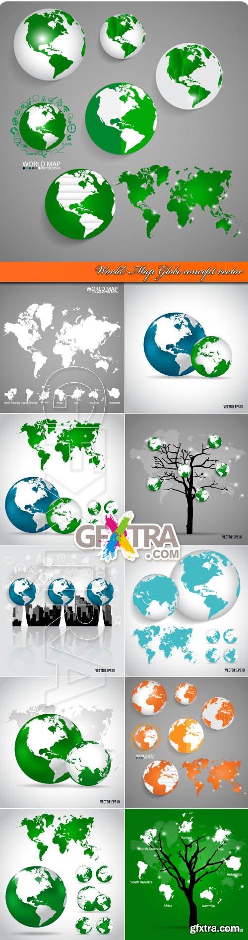 World Map Globe concept vector