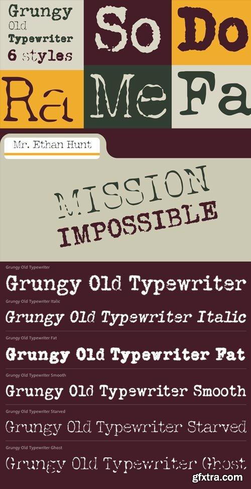Grungy Old Typewrite 6xOTF $36