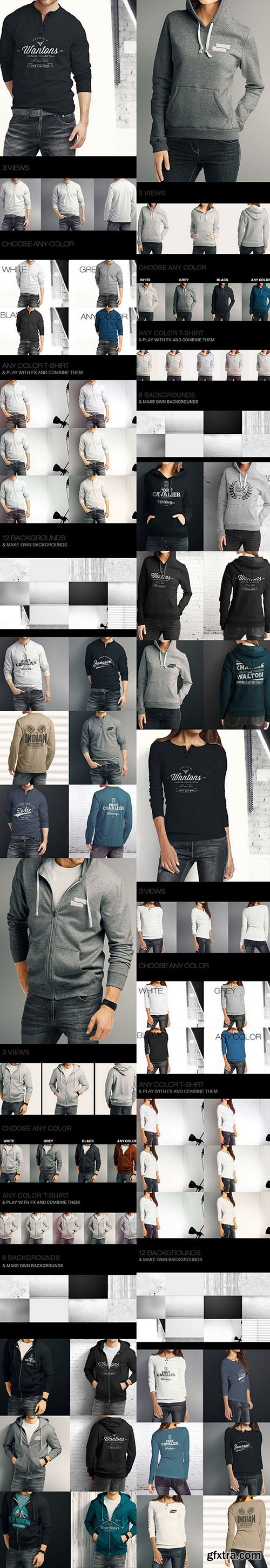 GraphicRiver Hoodie / Pullover Bundle Mock up 10997915
