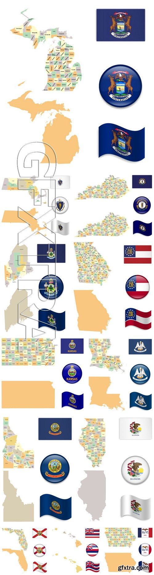 Stock Vectors - High Detailed Map and Flag Icons