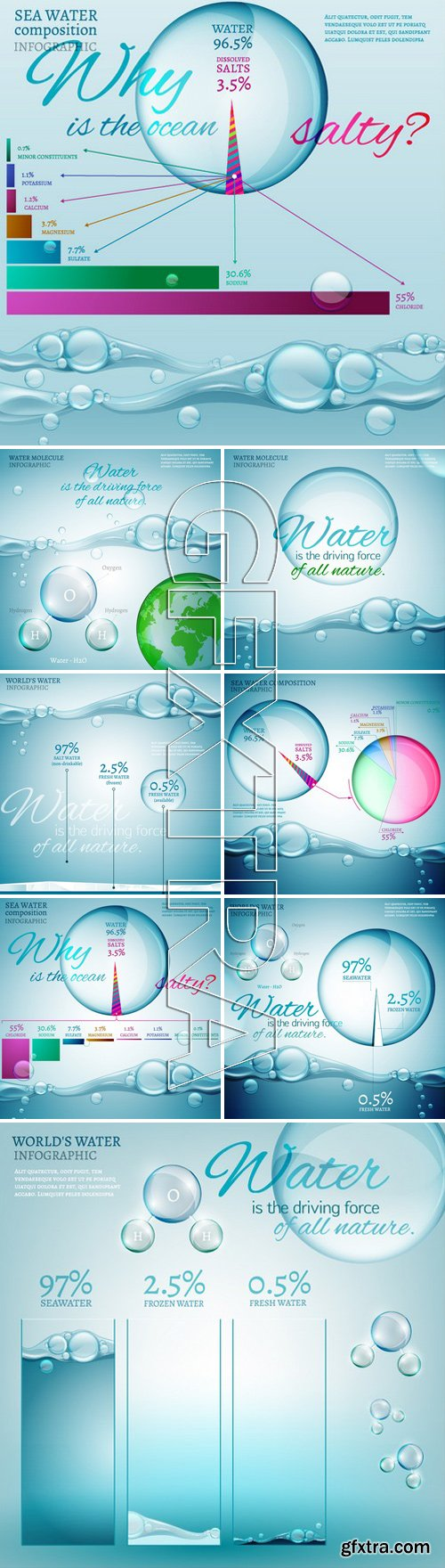 Stock Vectors - Water is the driving force of all nature. The illustration of bio infographics with water molecule in transparent style. Ecology and biochemistry concept. Save World waters!