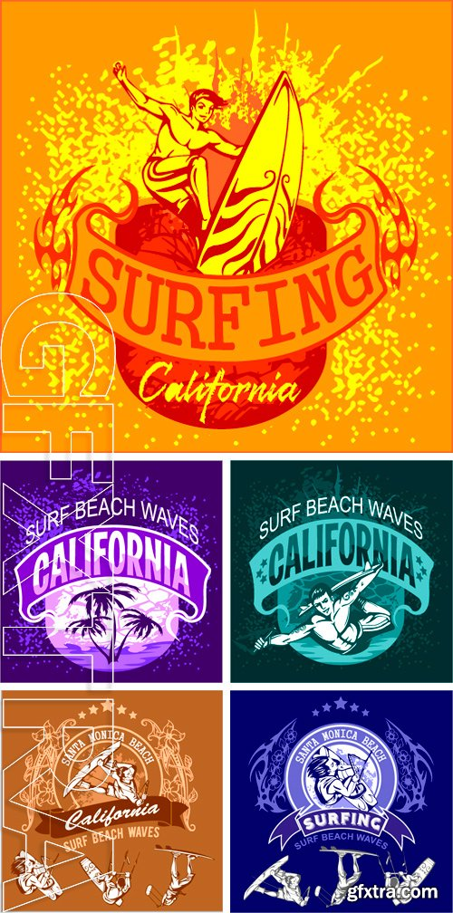 Stock Vectors - Surfing - vector label and elements