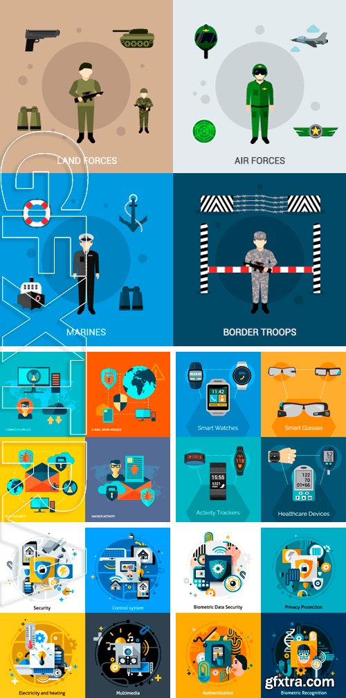 Stock Vectors - Security design concept set