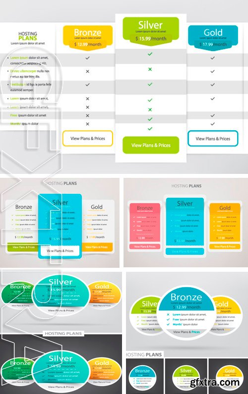 Stock Vectors - Pricing plans, table for websites and applications
