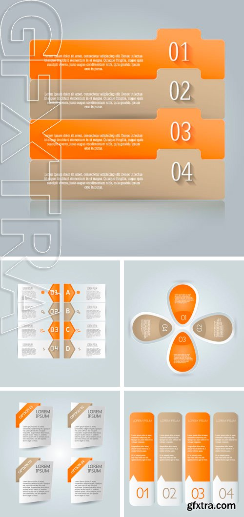 Stock Vectors - Modern infographics colorful design template with shadow orange color vector illustration