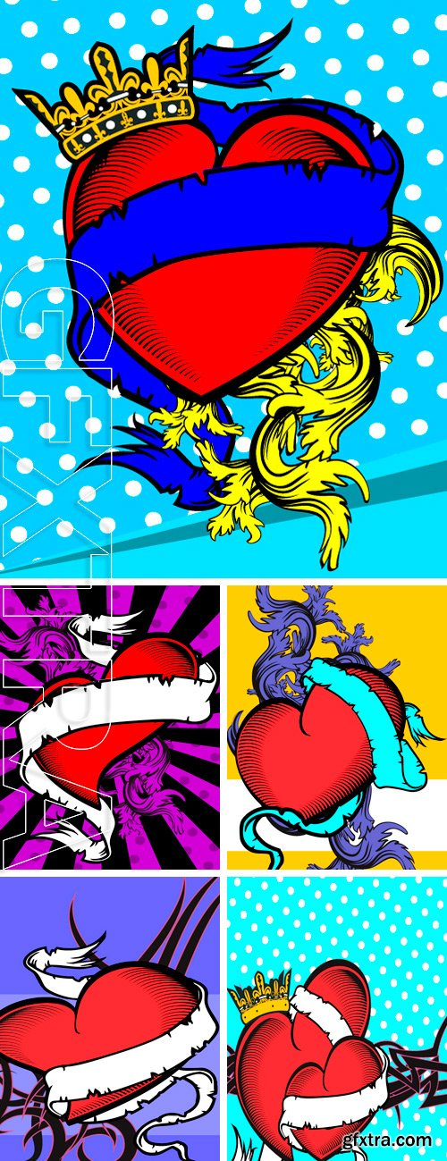 Stock Vectors - Heart ribbon tattoo background in vector format very easy to edit