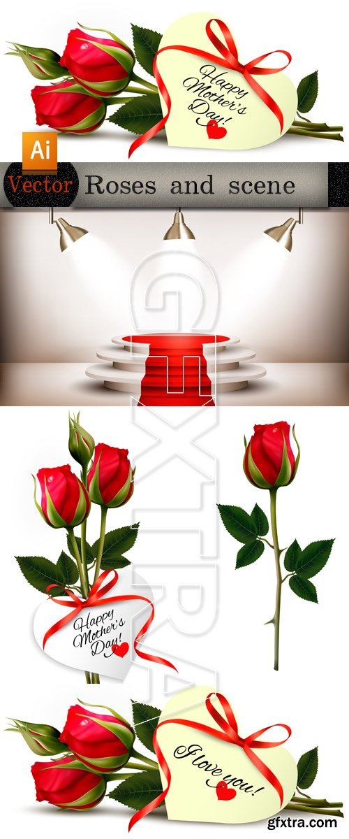 Red roses in Vector