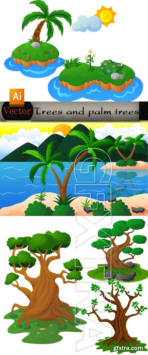 Palm trees and trees in Vector