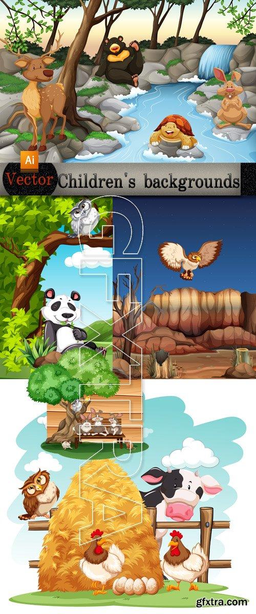 Children's backgrounds in Vector