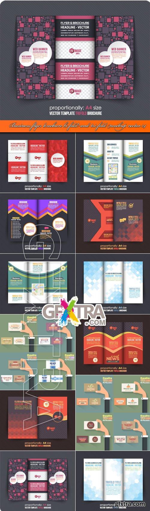 Business flyer brochure bi-fold and tri-fold mockup vector 14