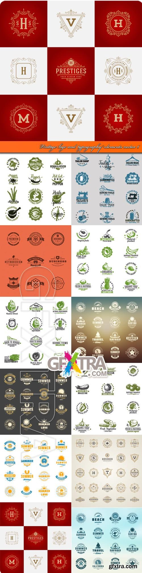 Vintage logo and typography elements vector 6