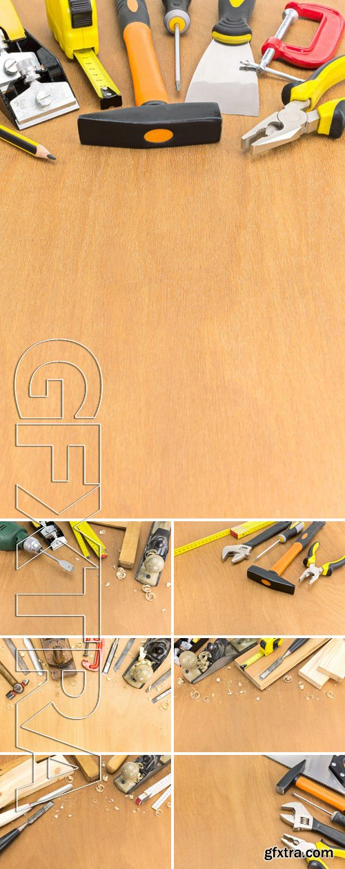 Stock Photos - Carpentry Workbench With Different Tools On Wooden Background