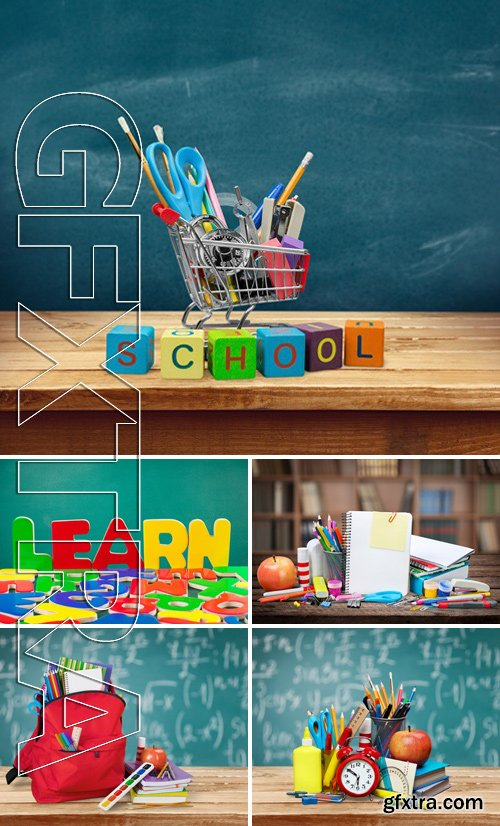 Stock Photos - Education. back to school shopping cart with supplies on white background