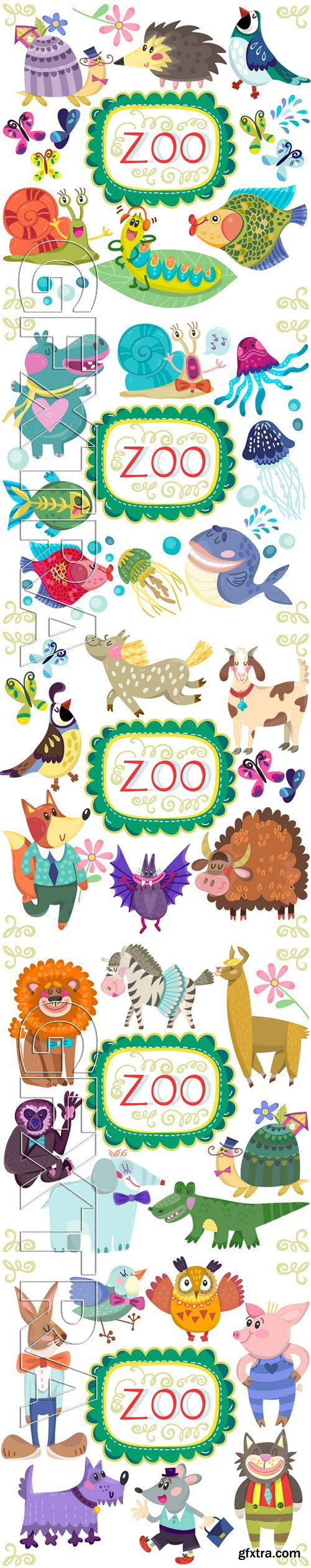 Stock Vectors - Vector Amazing Colorful Set Of Funny And Adorable Animals