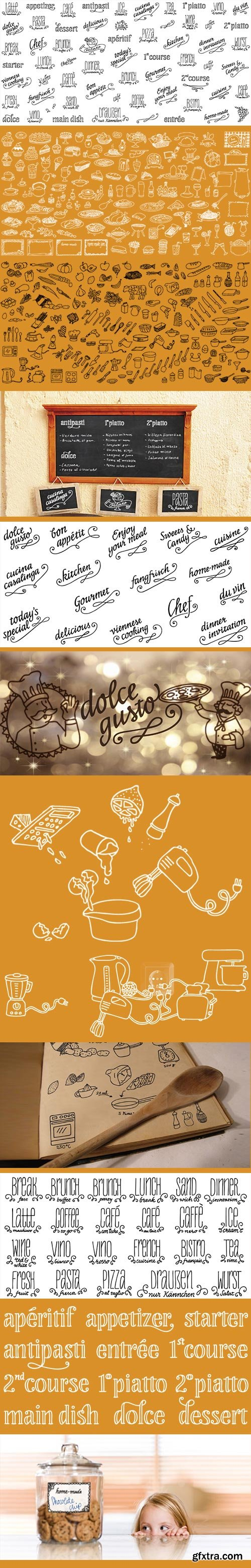 Liebe Restaurant Menu, Cook & Lettering Fonts 3xOTF $60