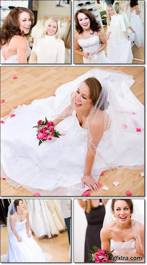 Bride: Wedding Gown, Laughing Bride On Floor With Petals Around - Stock photo