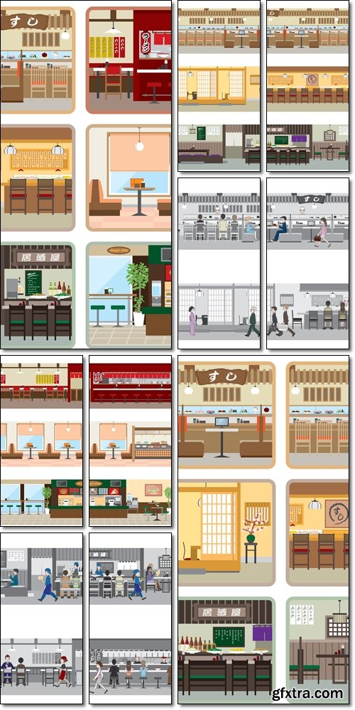 The interior of buildings, apartments , different style - Vector