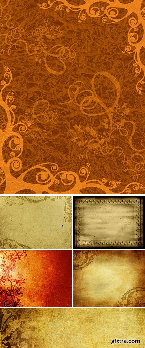 Stock Photos Gold grunge floral background