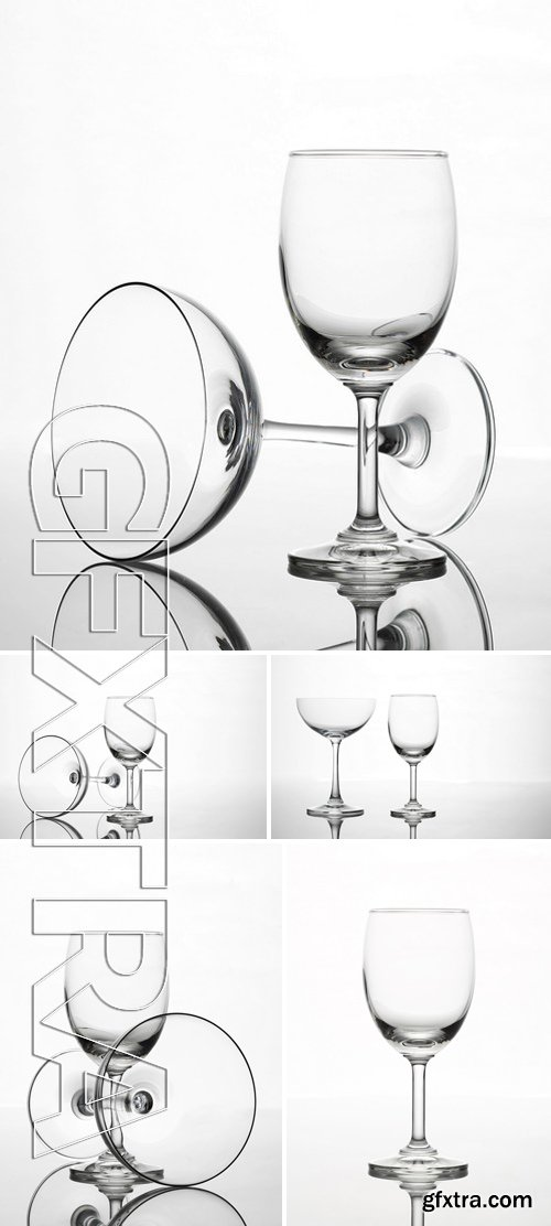 Stock Photos - Empty Wine Glass And Cocktail Glass Art Composition Creative