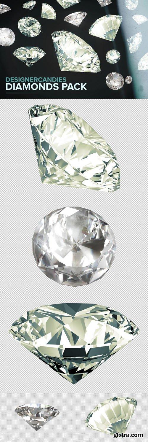 3D Diamond PNG Renders