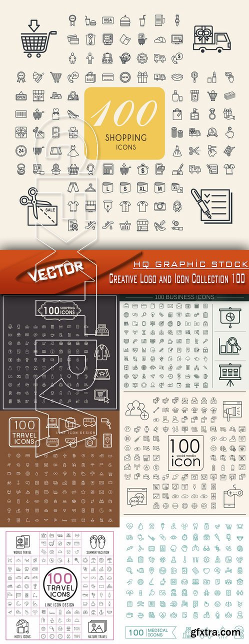 Stock Vector - Creative Logo and Icon Collection 100