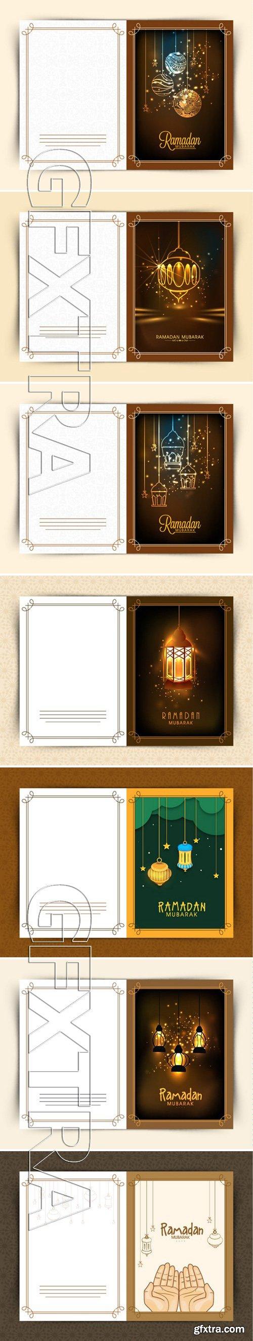 Stock Vectors - Beautiful greeting card design for Islamic holy month of prayers, Ramadan Kareem celebrations with hanging golden lanterns