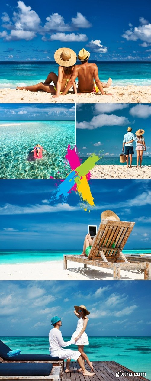 Stock Photo - Coples on Tropical Beach
