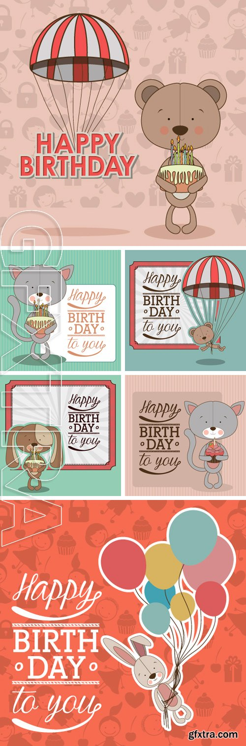 Stock Vectors - Happy birthday design over pastel colors background, vector illustration