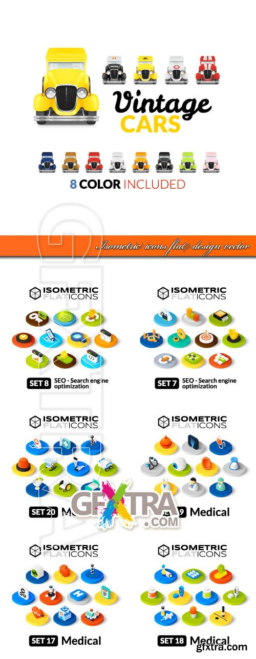 Isometric icons flat design vector