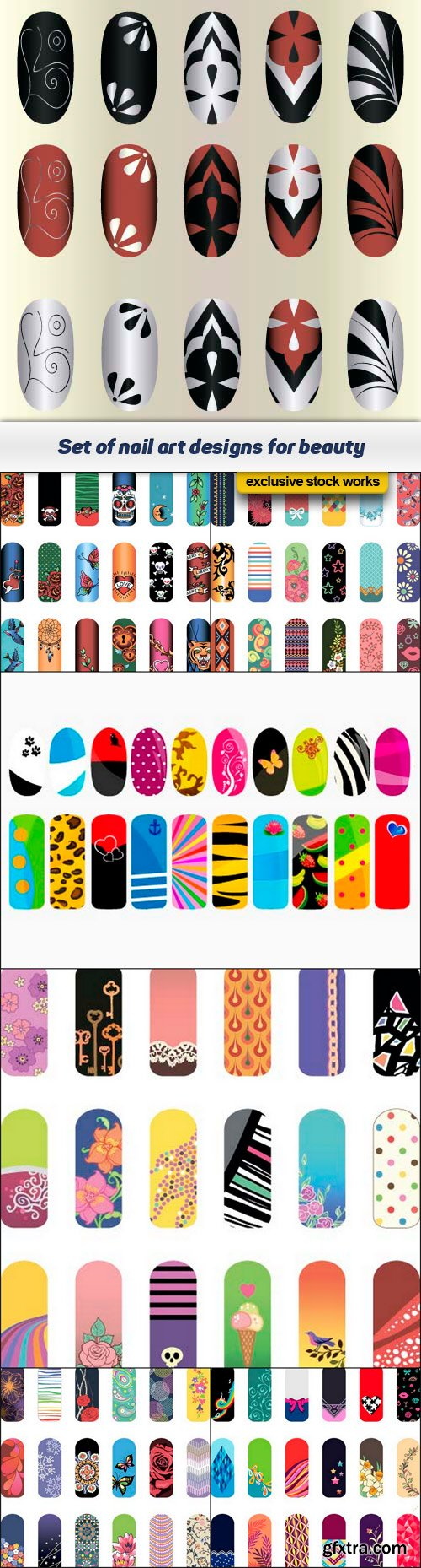 Set of nail art designs for beauty 7x EPS
