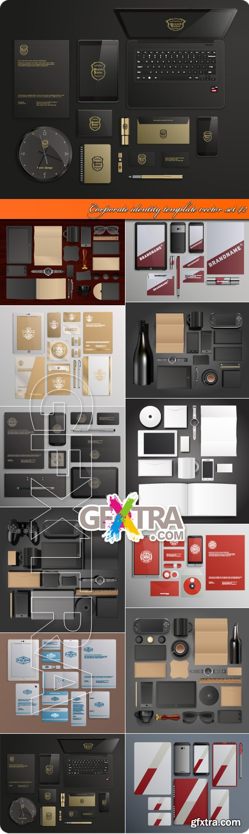 Corporate identity template vector set 42
