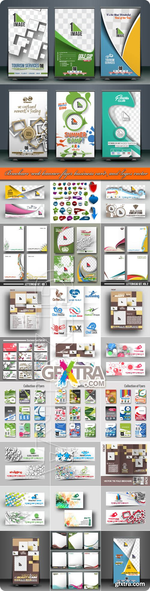 Brochure web banner flyer business card and logos vector