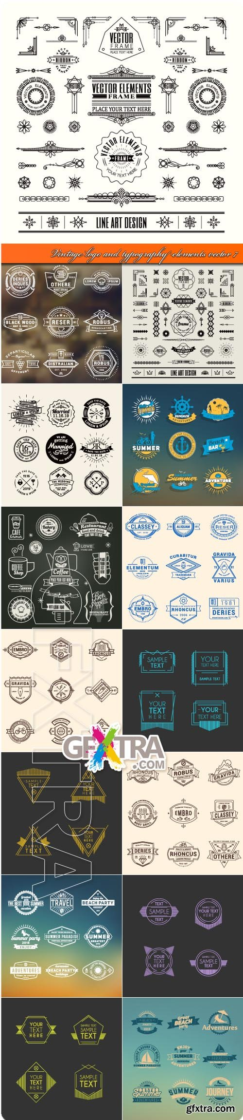 Vintage logo and typography elements vector 7