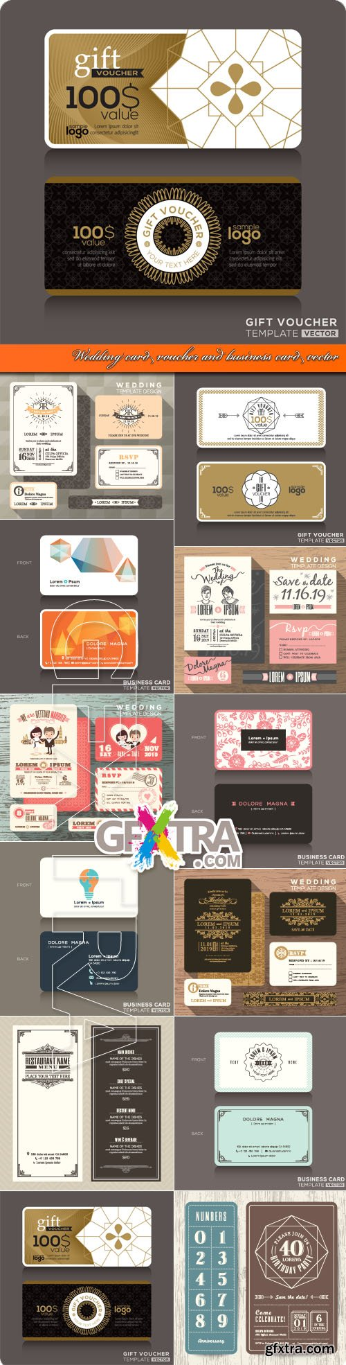Wedding card voucher and business cards vector