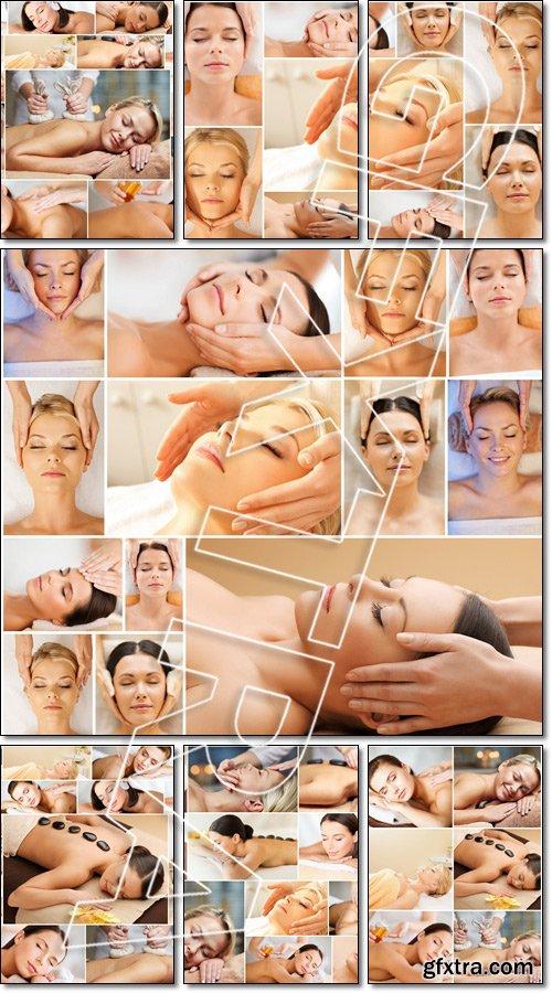 Women having facial or body massage in spa salon - Stock photo
