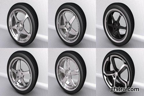 6 Wheels models for C4d