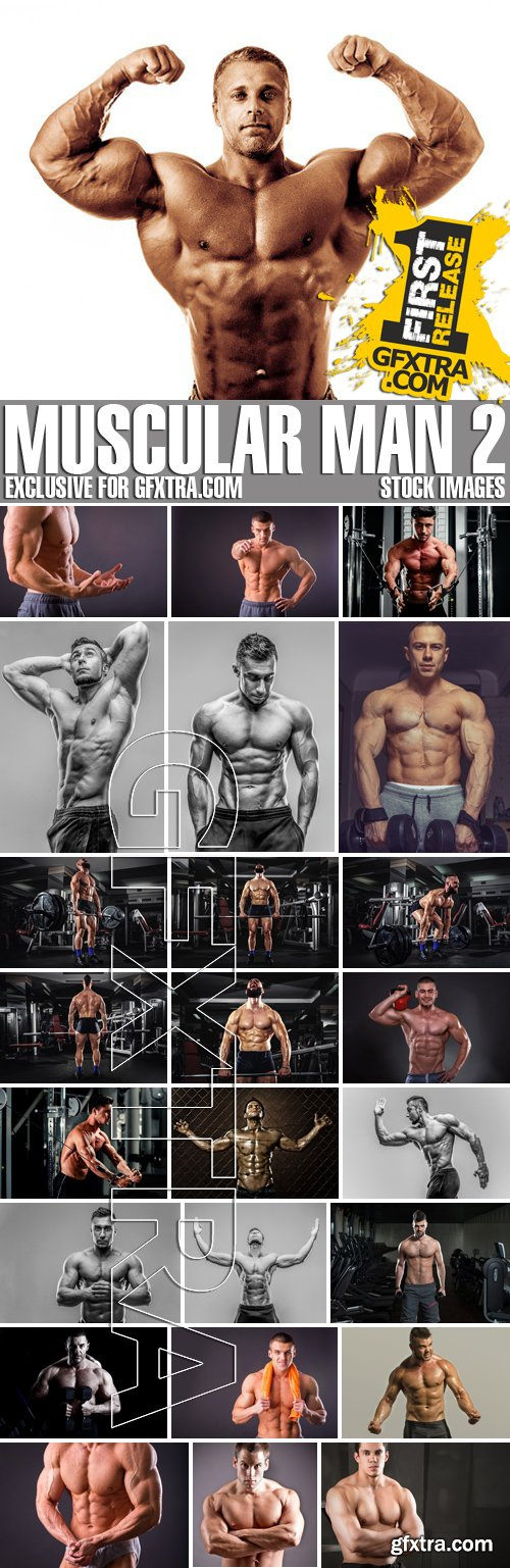Stock Photos - Muscular man 2, 25xJPG