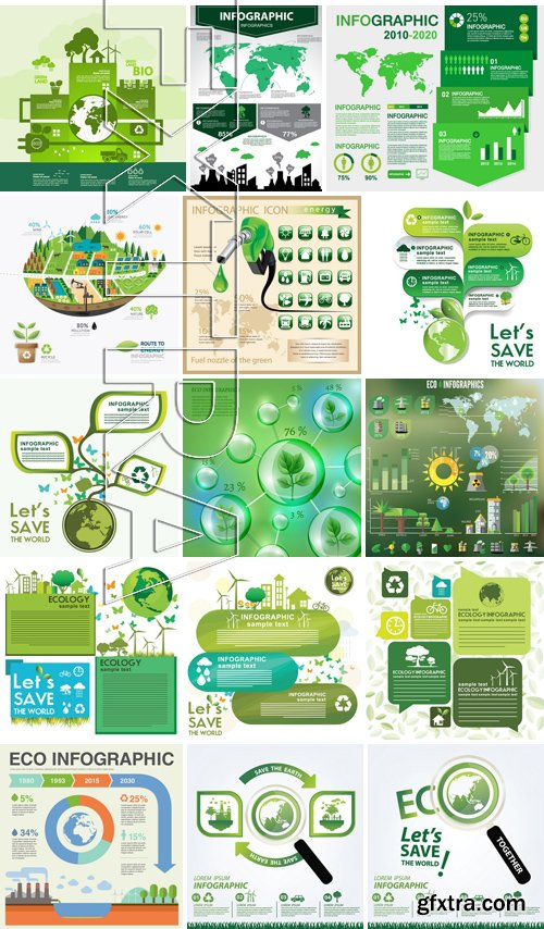 Stock Vectors - Save the world 3, 25xEPS