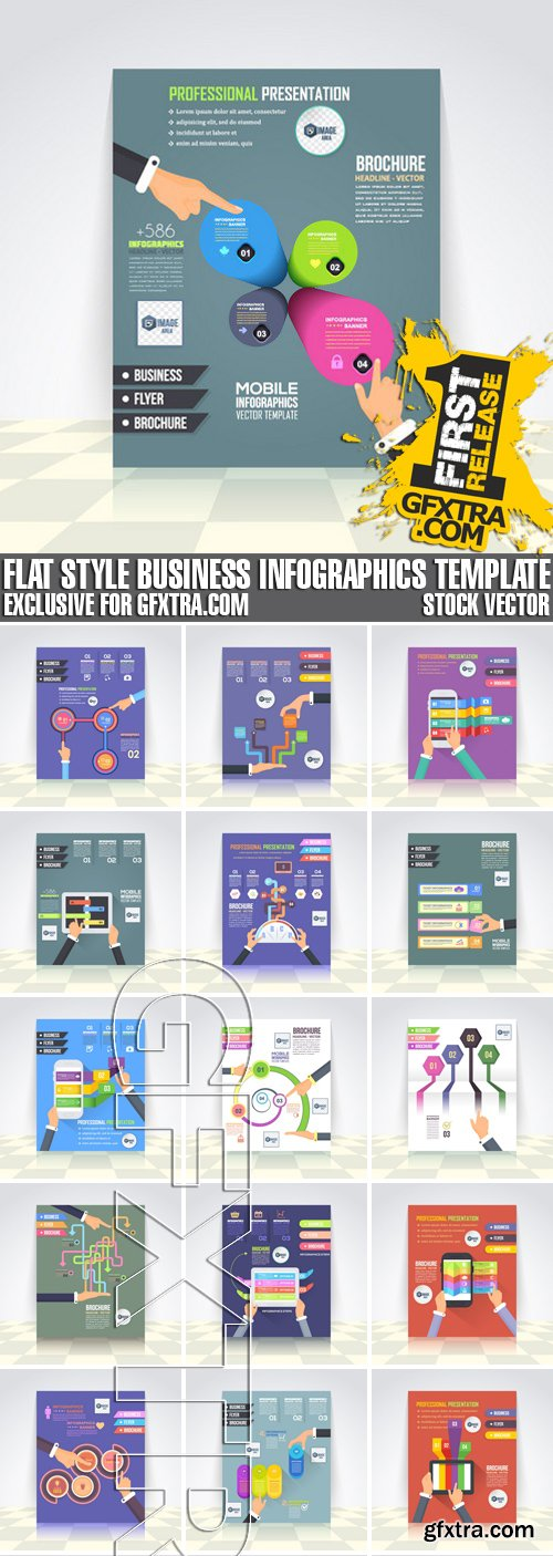 Stock Vectors - Flat Style Business Infographics Template, Vector Design Flyer, 37xEPS