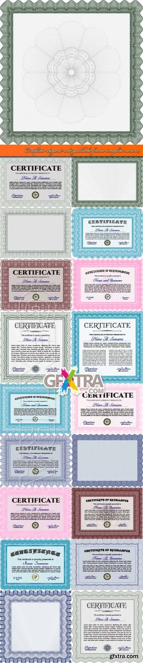 Certificate elegant and guilloche frame template vector 9