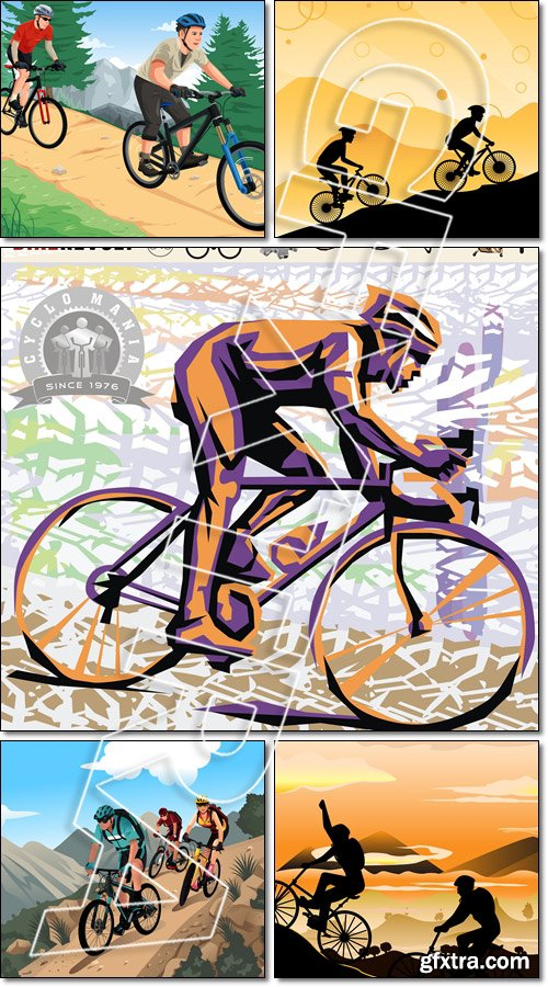 Cyclist. Mountain bikers in the mountain - Vector