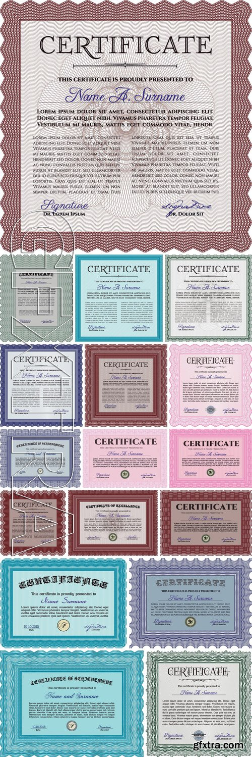 Stock Vectors - Certificate or diploma template 19