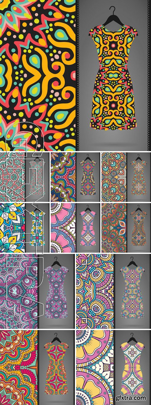 Stock Vectors - Dress with seamless pattern. vintage decorative elements. hand drawn background. islam, arabic, indian, ottoman motifs. perfect for printing on fabric or paper