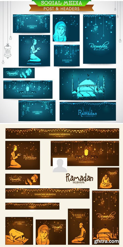 Stock Vectors - Shiny social media ads header or banner set with various Islamic elements for holy month of Muslim community, Ramadan Kareem celebration