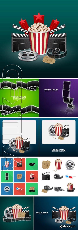 Stock Vectors - Filmstrip, reel, film clapper with vintage ticket and popcorn. Movie background. Cinema concept